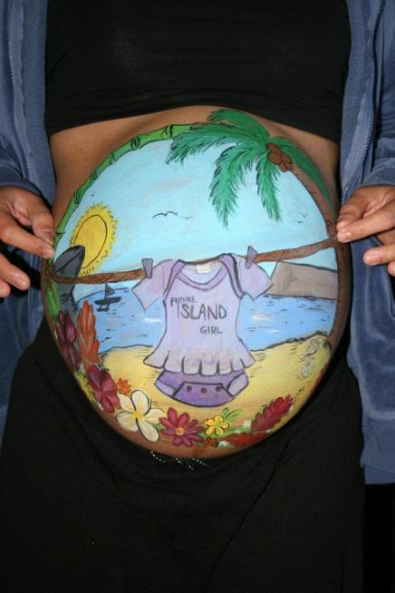 Aloha Island Belly Paint Baby Bump Announcement Baby Shower Ideas Carlsbad Chula Vista El Cajon La Jolla Coronado San Diego Face Painter by Fancy Nancy Faces