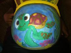 Baby turtle belly paint Baby Shower idea Baby Bump Baby Announcement Coronado La Jolla Mission Valley El Cajon Carlsbad Chula Vista San Diego Face Painting by Fancy Nancy Faces