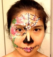 Floral Sugar Skull La Jolla Coronado El Cajon Chula Vista Carlsbad San Diego Face Painting by FancyNancyFaces