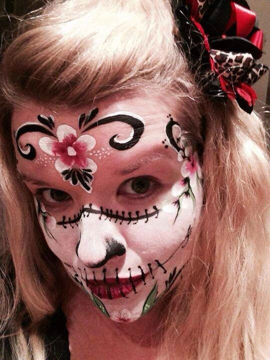Flower Sugar Skull Pretty Face Paint Dia De Los Muertos Day Of The