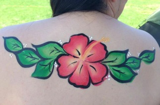 Hibiscus Tropical Aloha Island Belly Painting La Jolla Coronado El Cajon Carlsbad Chula Vista San Diego Face Painter by Fancy Nancy Faces