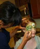 Practicing Lisa Joy Young Halloween Face Paint Party Entertainer San Diego La Jolla Coronado Fancy Nancy Faces