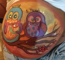 two owls belly paint Baby shower idea Baby announcement La Jolla Coronado El Cajon Chula Vista Carlsbad Poway San Diego Face Painter by Fancy Nancy Faces